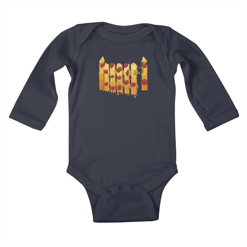 Pizza Fence Kids Baby Longsleeve Bodysuit by City of Pyramids's Artist Shop