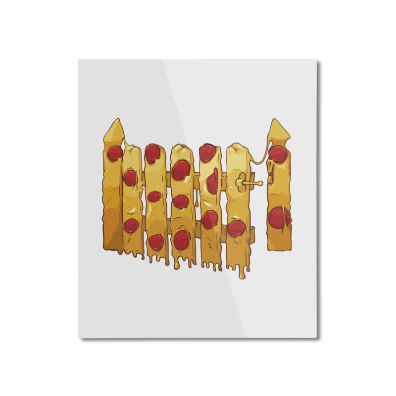 Pizza Fence Home Mounted Aluminum Print by City of Pyramids's Artist Shop
