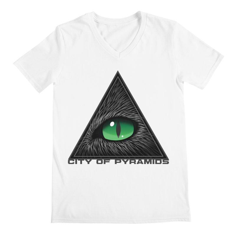Eyecoic Cat Eye Men's V-Neck by City of Pyramids's Artist Shop