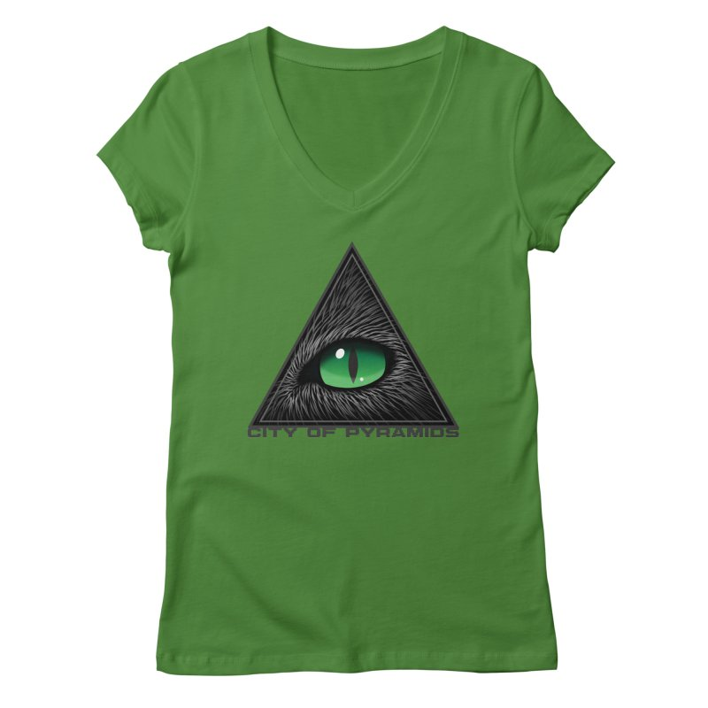 Eyecoic Cat Eye Women's Regular V-Neck by City of Pyramids's Artist Shop