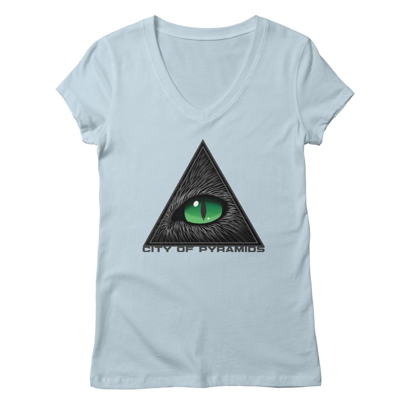 Eyecoic Cat Eye Women's Regular V-Neck by City of Pyramids's Artist Shop