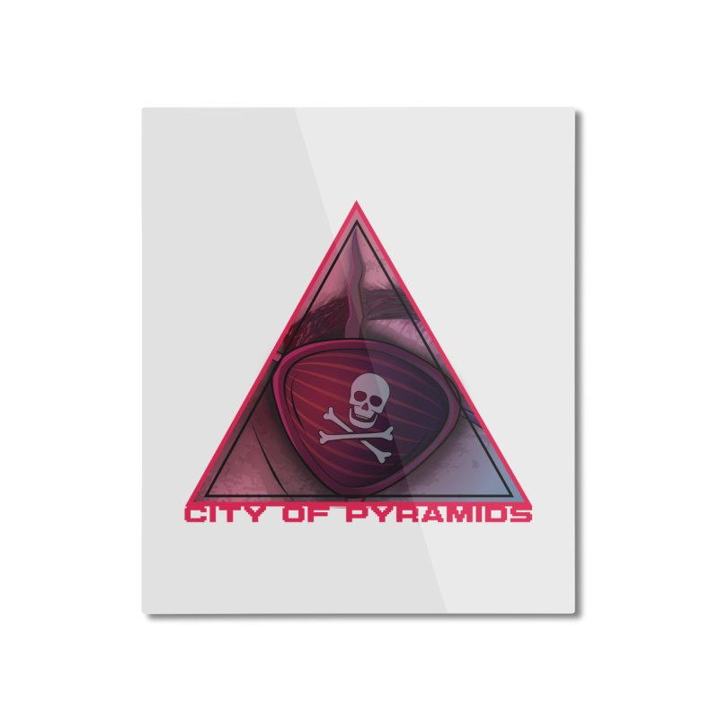 Eyeconic Eyepatch Home Mounted Aluminum Print by City of Pyramids's Artist Shop