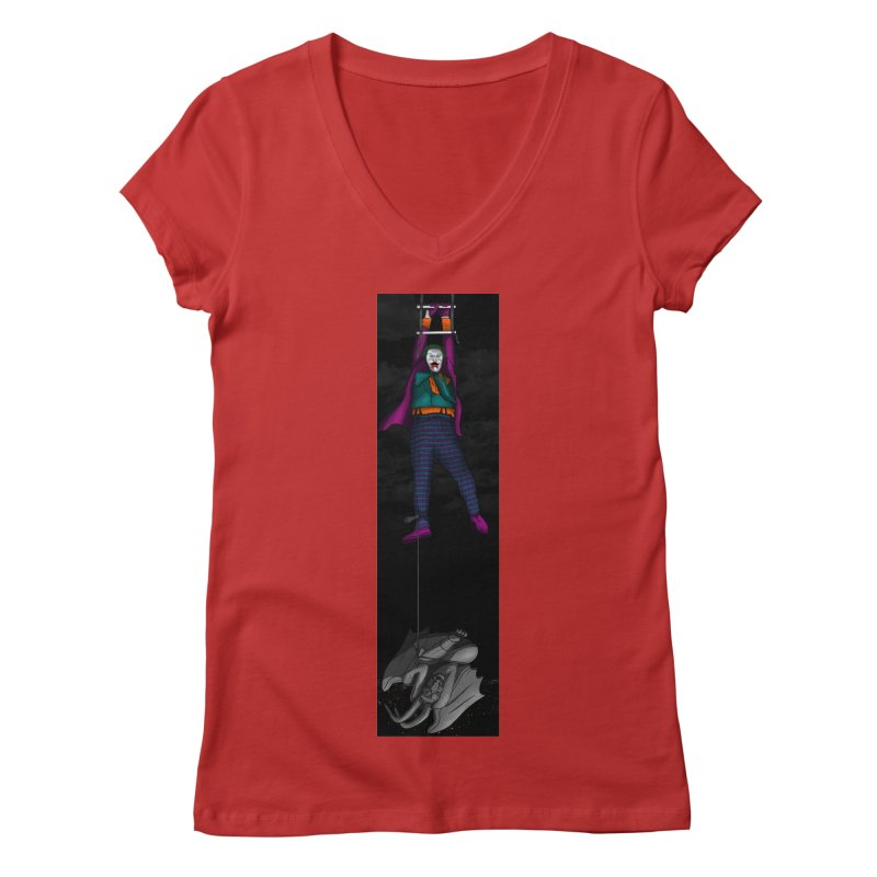 Hang in There-Joker Women's Regular V-Neck by City of Pyramids's Artist Shop