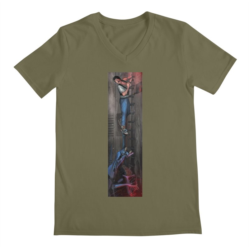 Hang in There-Ripley Men's Regular V-Neck by City of Pyramids's Artist Shop