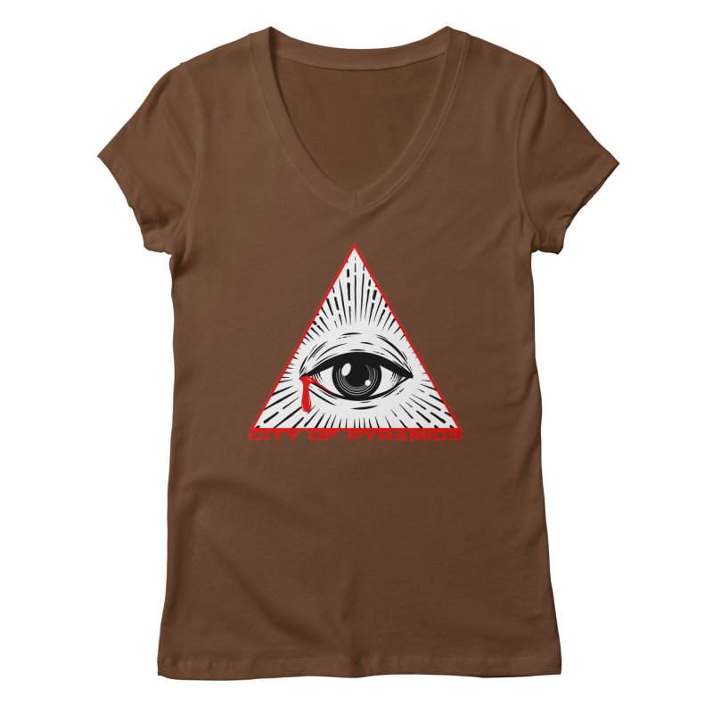 Eyeconic Tears Women's Regular V-Neck by City of Pyramids's Artist Shop