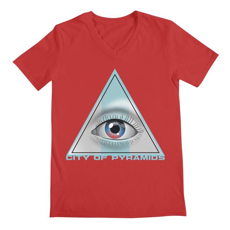 Eyeconic Blank Men's Regular V-Neck by City of Pyramids's Artist Shop