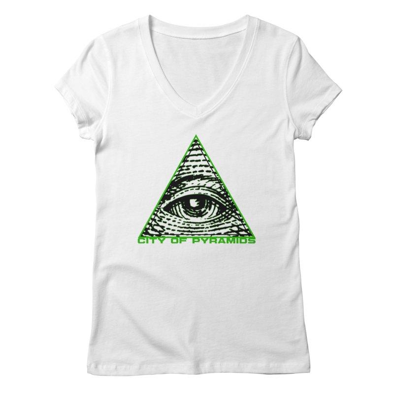 Eyeconic All Seeing Eye Women's Regular V-Neck by City of Pyramids's Artist Shop