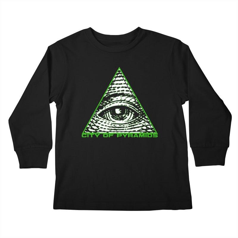 Eyeconic All Seeing Eye Kids Longsleeve T-Shirt by City of Pyramids's Artist Shop