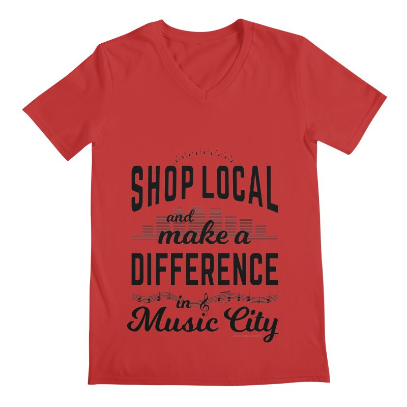 Shop Local and Make a Difference in Music City (Black Type) Men's Regular V-Neck by cityscapecreative's Artist Shop