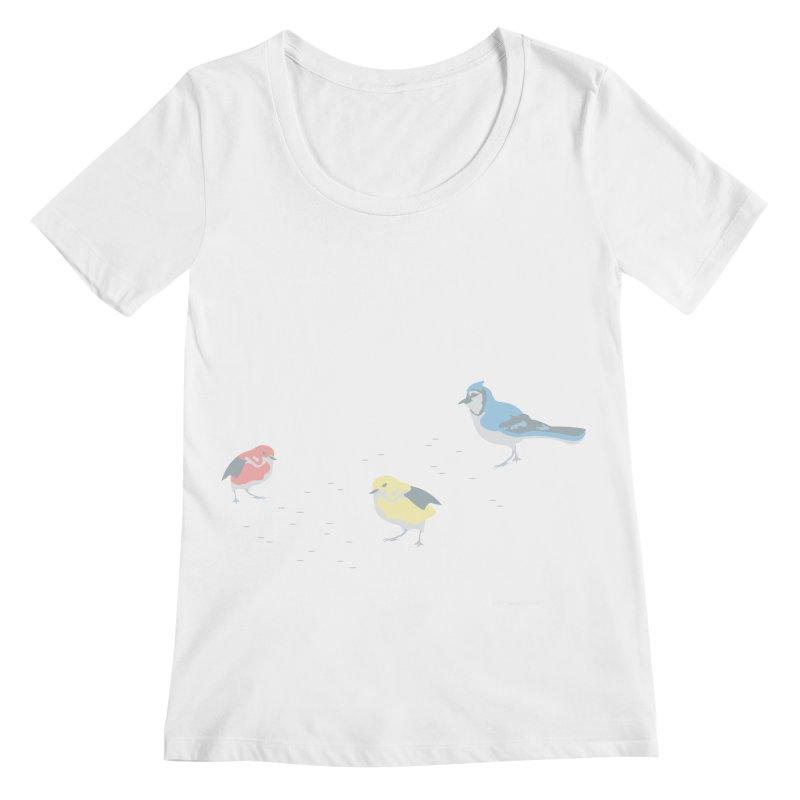 Little Birds (Primary Colors) Women's Regular Scoop Neck by cityscapecreative's Artist Shop