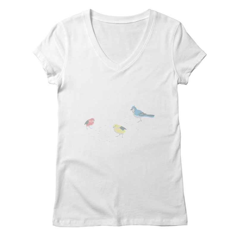 Little Birds (Primary Colors) in Women's Regular V-Neck White by cityscapecreative's Artist Shop