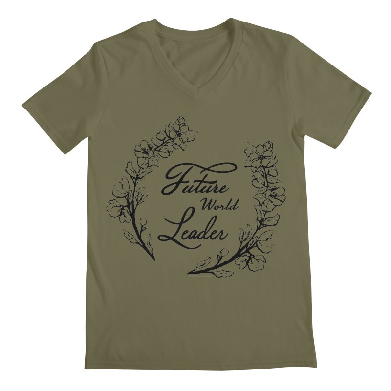 Future World Leader (Black Type) Men's Regular V-Neck by cityscapecreative's Artist Shop