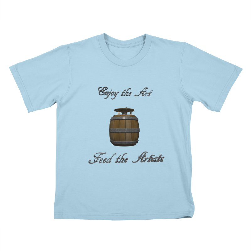 Feed the Artists (Barrel Gnome) Kids T-Shirt by CIULLO CORPORATION's Artist Shop