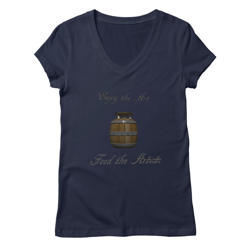 Feed the Artists (Barrel Gnome) Women's V-Neck by CIULLO CORPORATION's Artist Shop