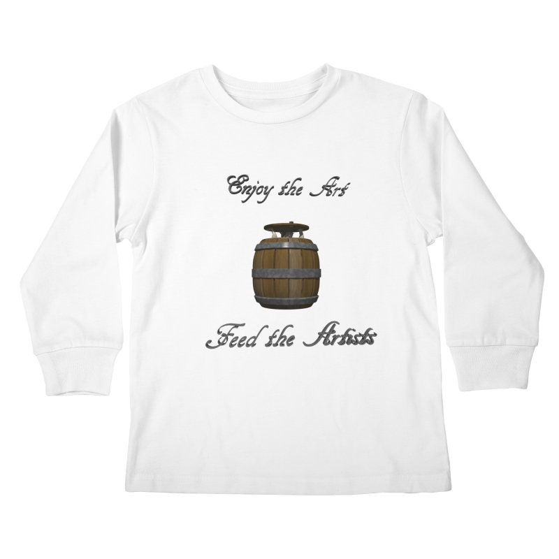 Feed the Artists (Barrel Gnome) Kids Longsleeve T-Shirt by CIULLO CORPORATION's Artist Shop