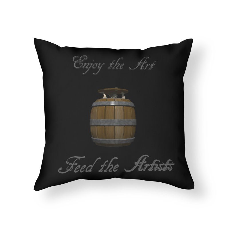 Feed the Artists (Barrel Gnome) Home Throw Pillow by CIULLO CORPORATION's Artist Shop