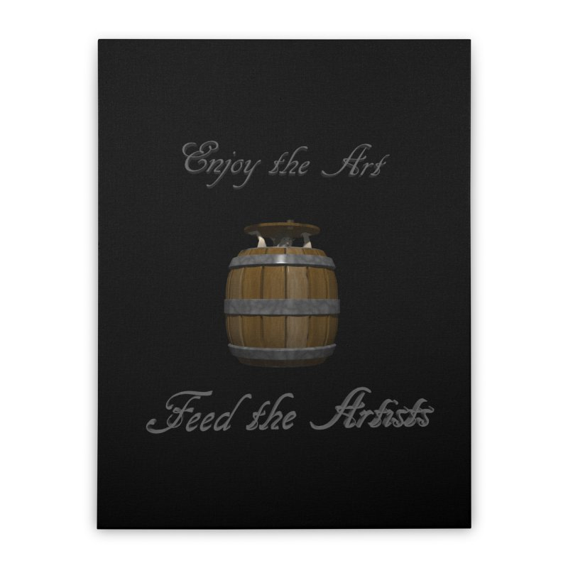 Feed the Artists (Barrel Gnome) Home Stretched Canvas by CIULLO CORPORATION's Artist Shop