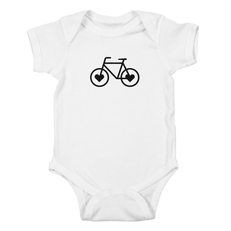 Black Heart Bicycle Kids Baby Bodysuit by cjsdesign's Artist Shop