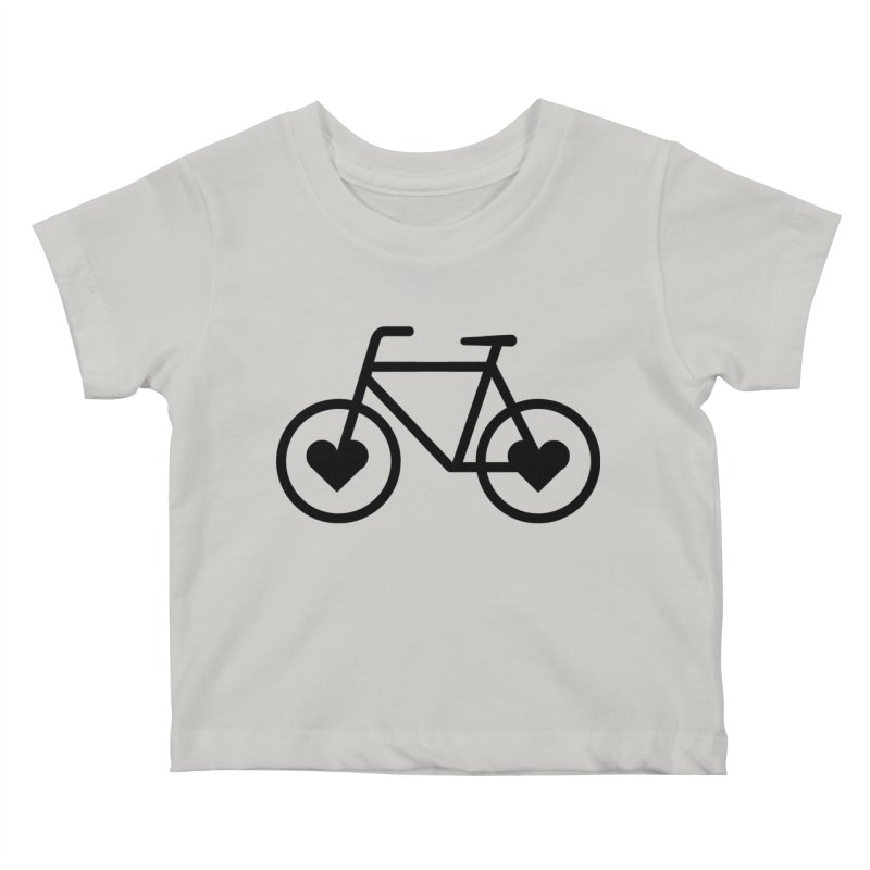 Black Heart Bicycle Kids Baby T-Shirt by cjsdesign's Artist Shop