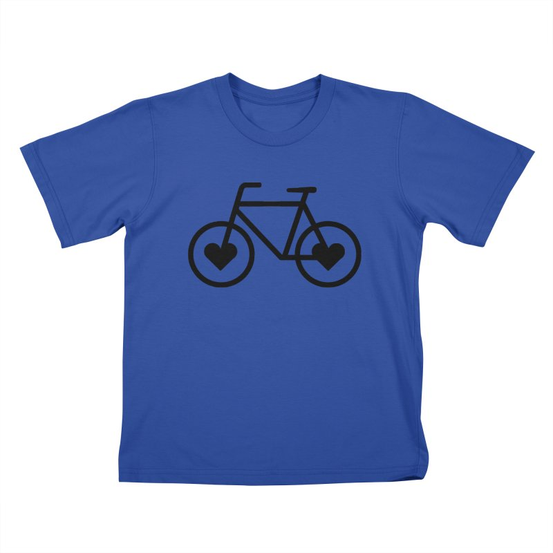 Black Heart Bicycle Kids T-Shirt by cjsdesign's Artist Shop