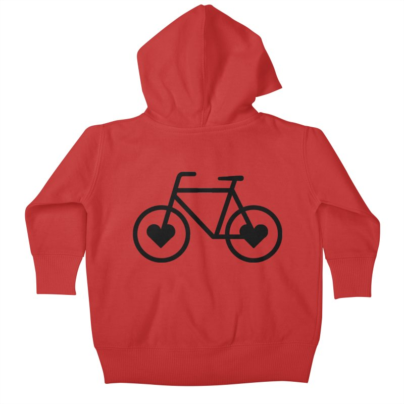 Black Heart Bicycle Kids Baby Zip-Up Hoody by cjsdesign's Artist Shop