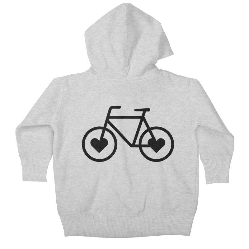 Black Heart Bicycle Kids Baby Zip-Up Hoody by cjsdesign's Artist Shop