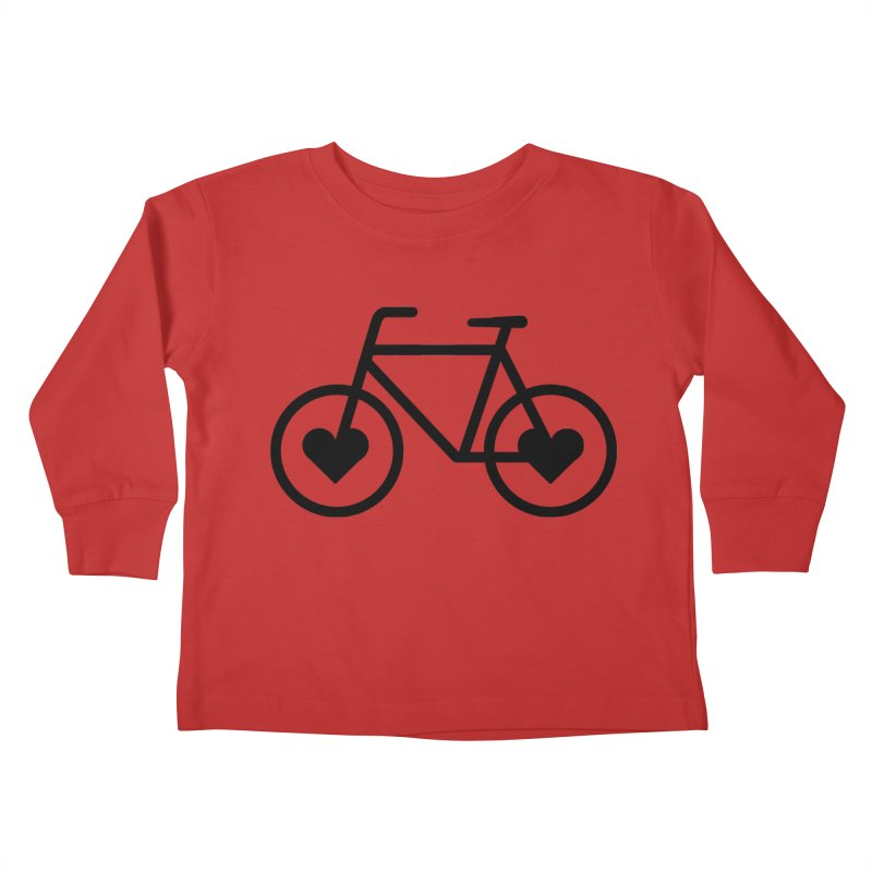 Black Heart Bicycle Kids Toddler Longsleeve T-Shirt by cjsdesign's Artist Shop