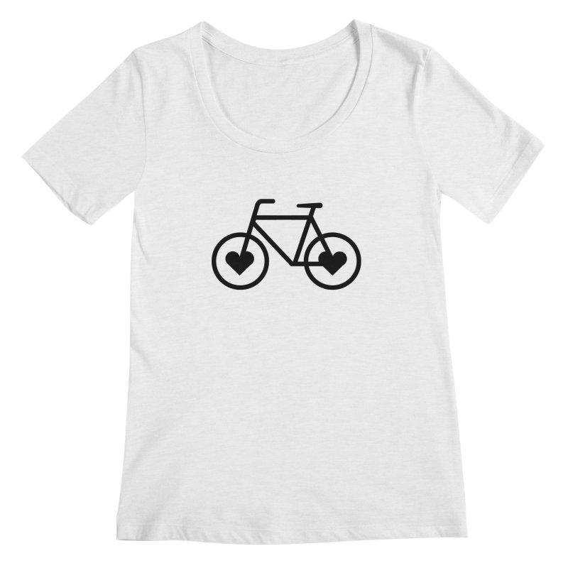 Black Heart Bicycle Women's Scoopneck by cjsdesign's Artist Shop