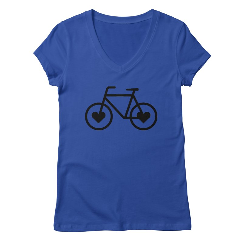 Black Heart Bicycle Women's V-Neck by cjsdesign's Artist Shop