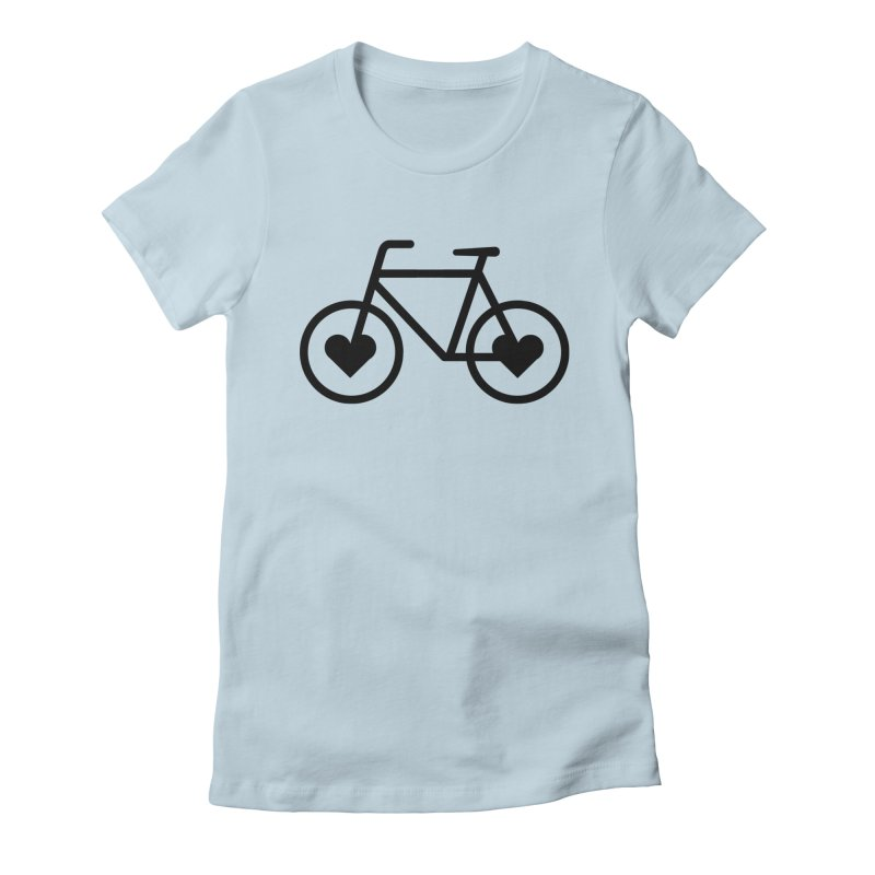 Black Heart Bicycle Women's Fitted T-Shirt by cjsdesign's Artist Shop