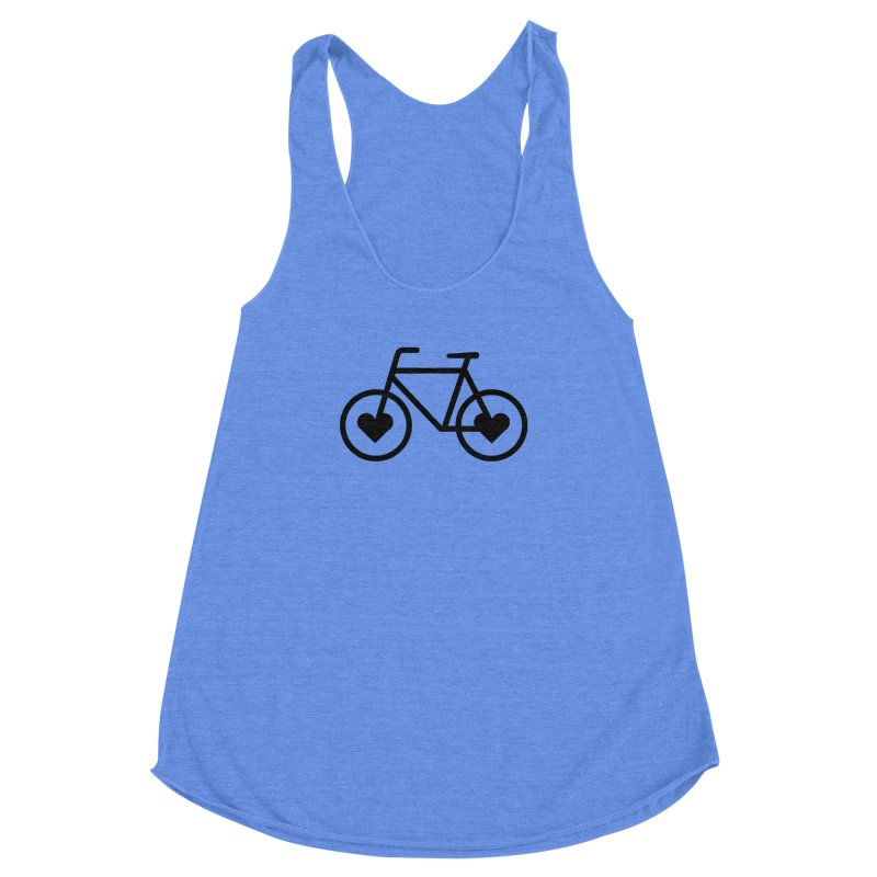 Black Heart Bicycle Women's Racerback Triblend Tank by cjsdesign's Artist Shop