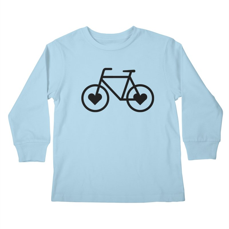 Black Heart Bicycle Kids Longsleeve T-Shirt by cjsdesign's Artist Shop