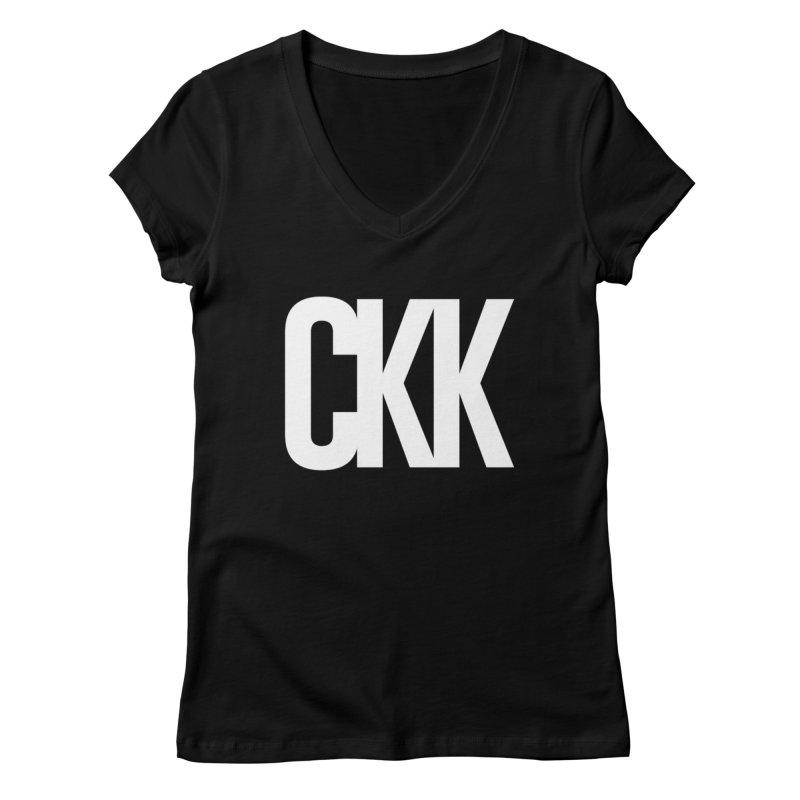 CKK (White/Outlined) Women's V-Neck by ckkompanion's Artist Shop