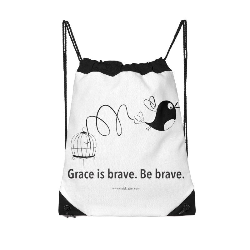 Grace is brave. Be brave. (bird) Accessories Bag by Chris Kratzer Artist Shop