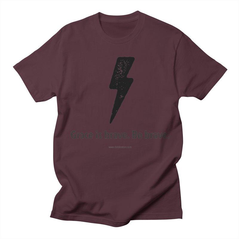 Grace is brave. Be brave. (bolt) Men's T-Shirt by Chris Kratzer Artist Shop