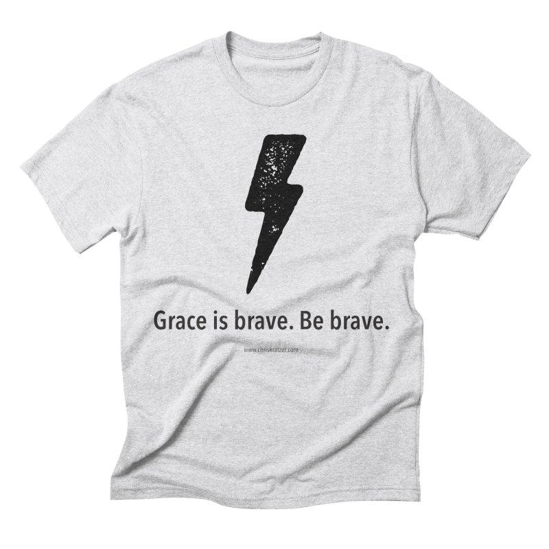 Grace is brave. Be brave. (bolt) Men's Triblend T-Shirt by Chris Kratzer Artist Shop