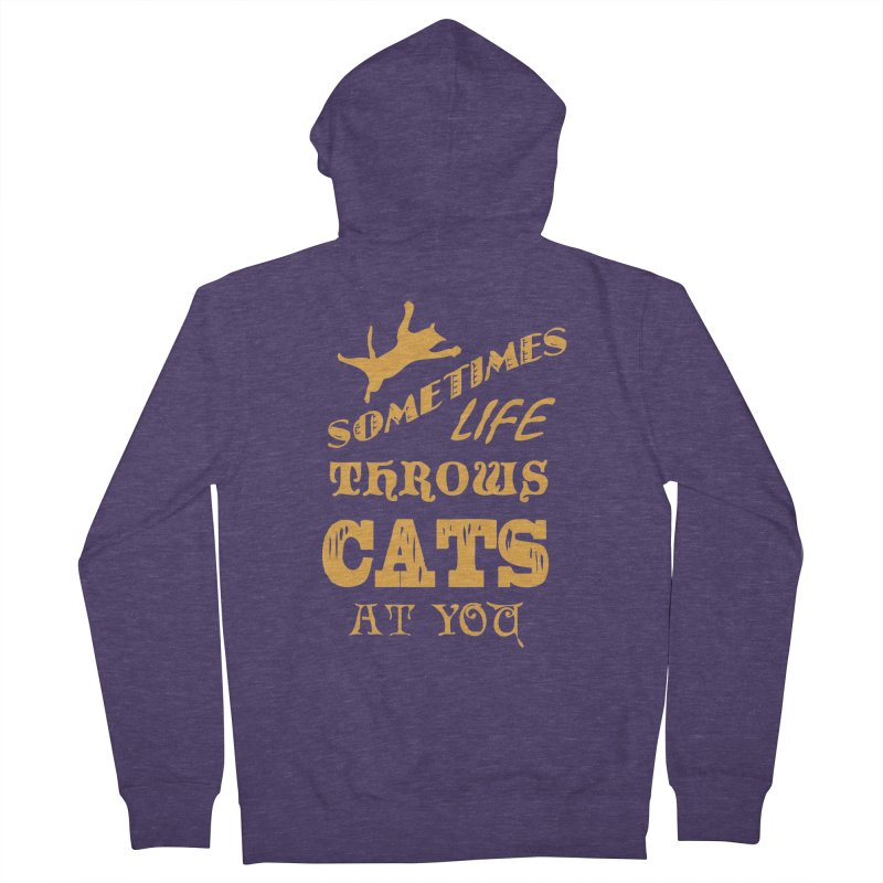 Sometimes Life Throws Cats At You Men's French Terry Zip-Up Hoody by Clare Bohning's Shop