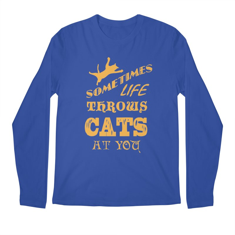 Sometimes Life Throws Cats At You Men's Regular Longsleeve T-Shirt by Clare Bohning's Shop