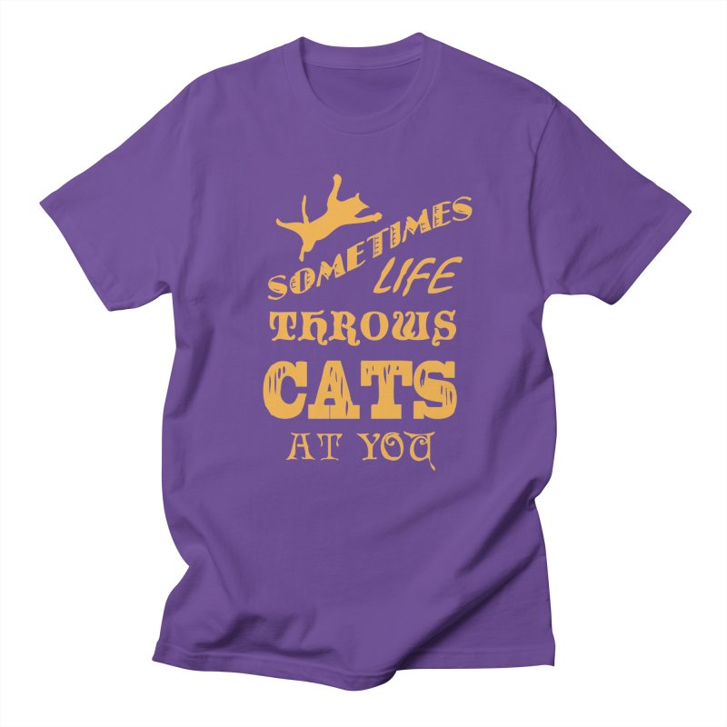 Sometimes Life Throws Cats At You Men's Regular T-Shirt by Clare Bohning's Shop