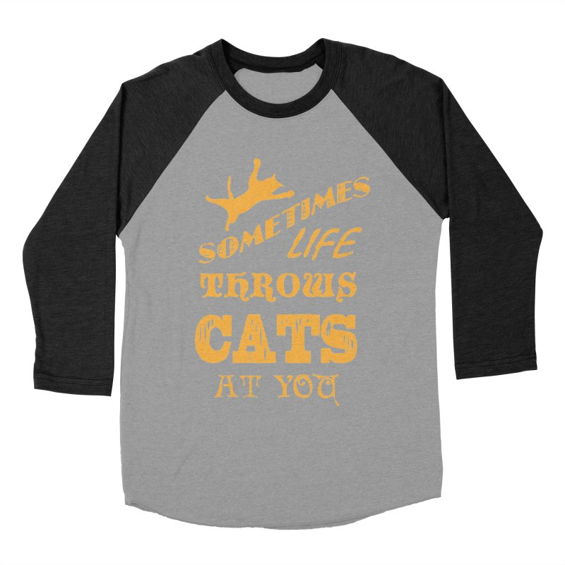 Sometimes Life Throws Cats At You Men's Baseball Triblend Longsleeve T-Shirt by Clare Bohning's Shop