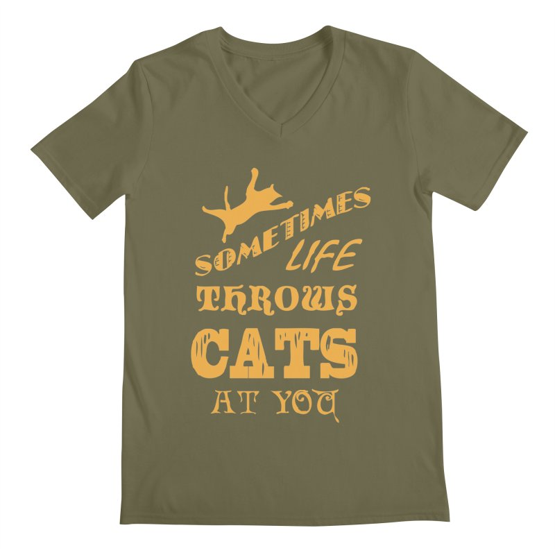 Sometimes Life Throws Cats At You Men's Regular V-Neck by Clare Bohning's Shop