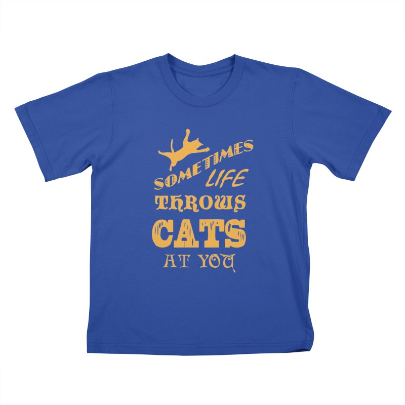 Sometimes Life Throws Cats At You Kids T-Shirt by Clare Bohning's Shop