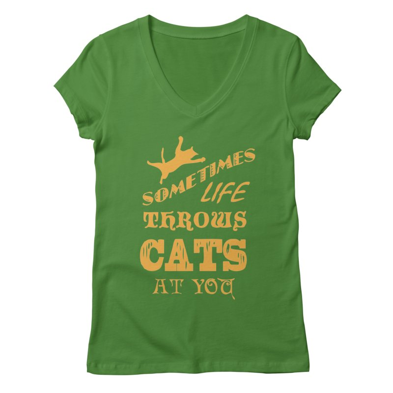 Sometimes Life Throws Cats At You Women's Regular V-Neck by Clare Bohning's Shop