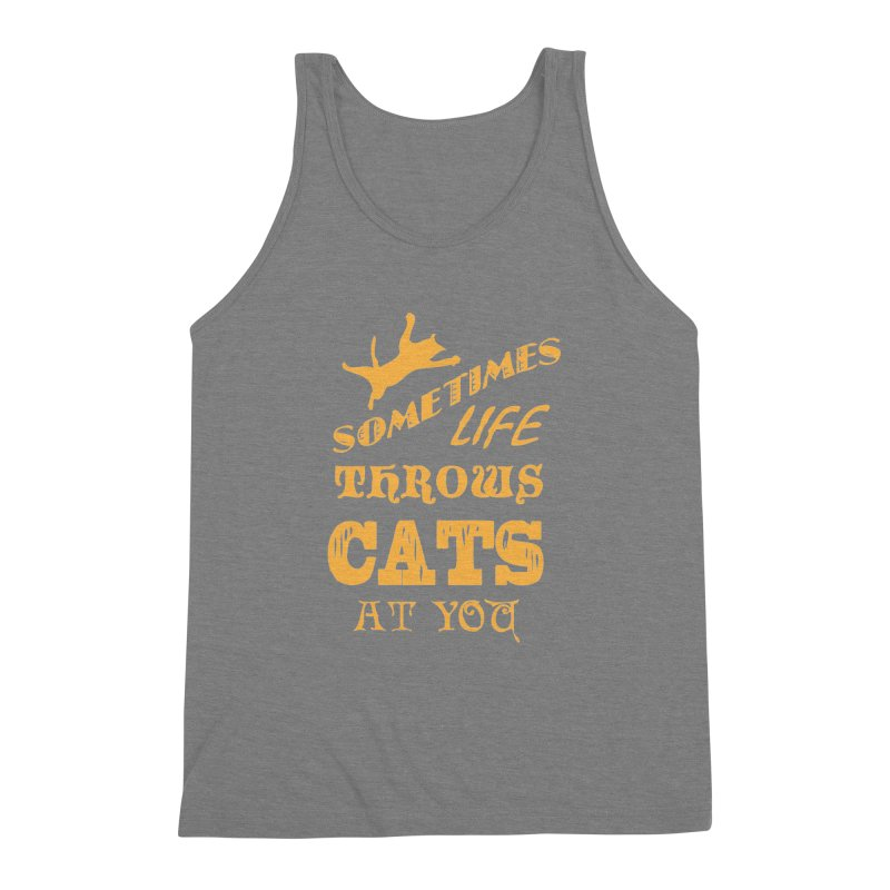 Sometimes Life Throws Cats At You Men's Triblend Tank by Clare Bohning's Shop