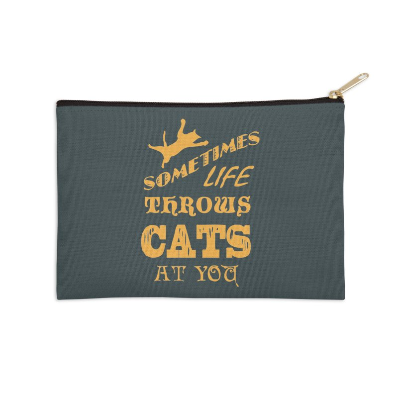Sometimes Life Throws Cats At You Accessories Zip Pouch by Clare Bohning's Shop