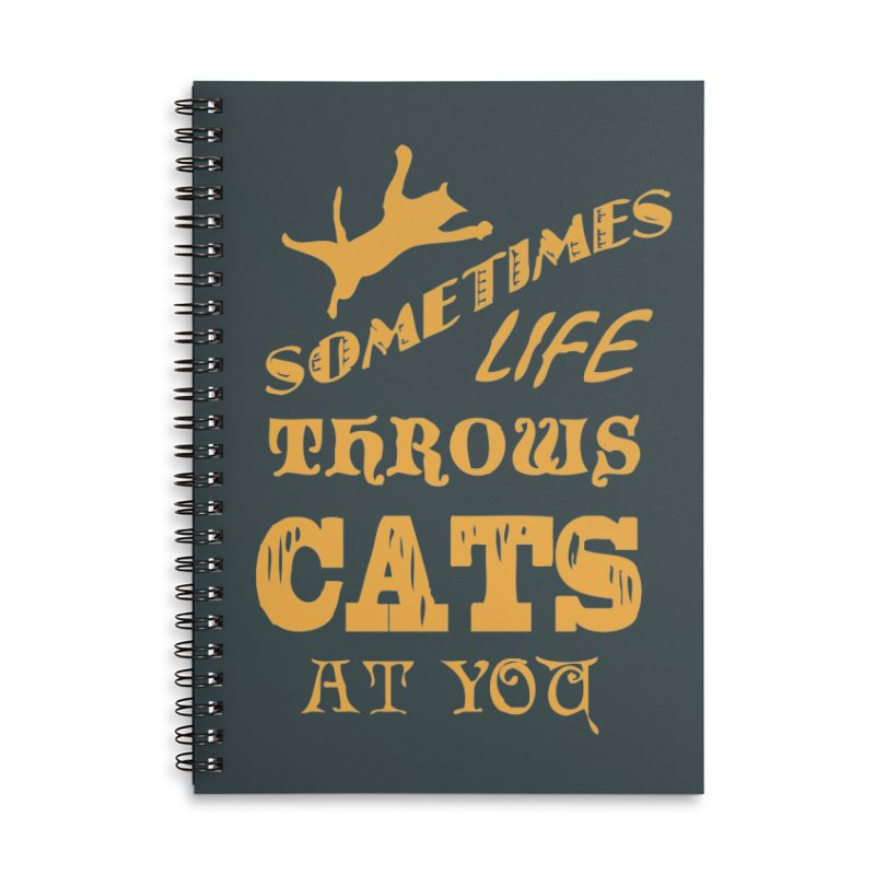 Sometimes Life Throws Cats At You Accessories Lined Spiral Notebook by Clare Bohning's Shop