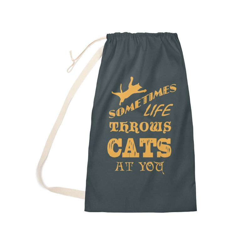 Sometimes Life Throws Cats At You Accessories Laundry Bag Bag by Clare Bohning's Shop