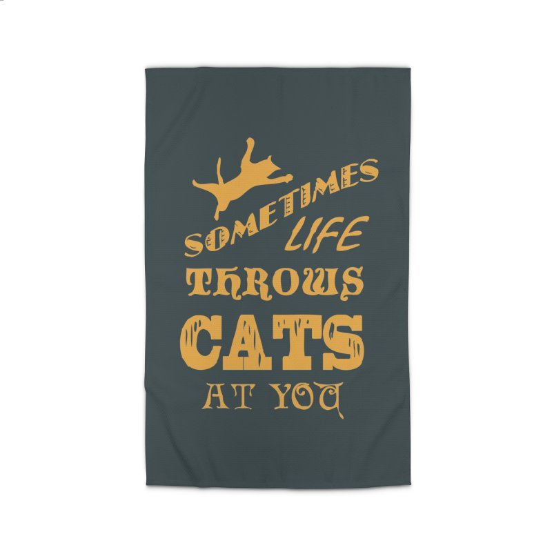 Sometimes Life Throws Cats At You Home Rug by Clare Bohning's Shop