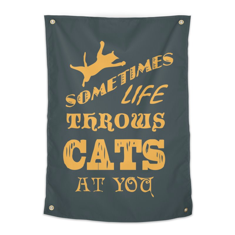 Sometimes Life Throws Cats At You Home Tapestry by Clare Bohning's Shop