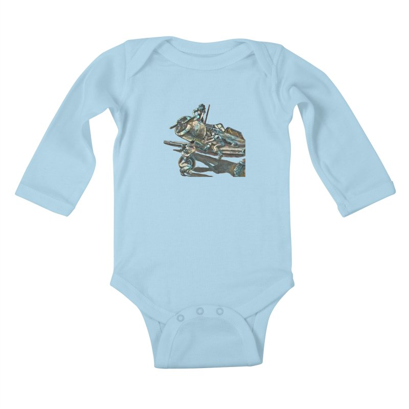 Navy Gals Kids Baby Longsleeve Bodysuit by Clare Bohning's Shop